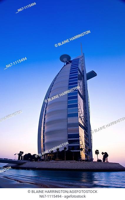 Burj Al Arab Hotel designed to resemble a billowing sail, Dubai, United Arab Emirates (March 2010)