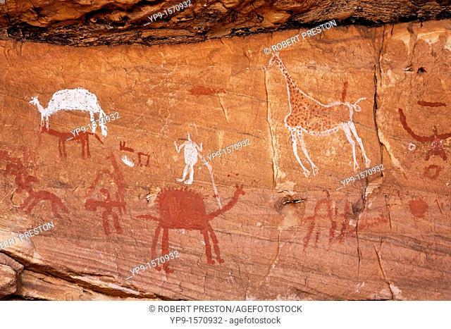 Painted figures and animals, rock art in the Akakus Mountains, Sahara Desert, Libya