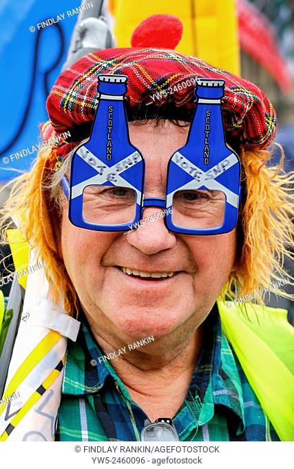 Jim Oliphant from East Wemyss, Fife attending a political rally in Glasgow involving SNP and other political affiliations. Glasgow, Scotland