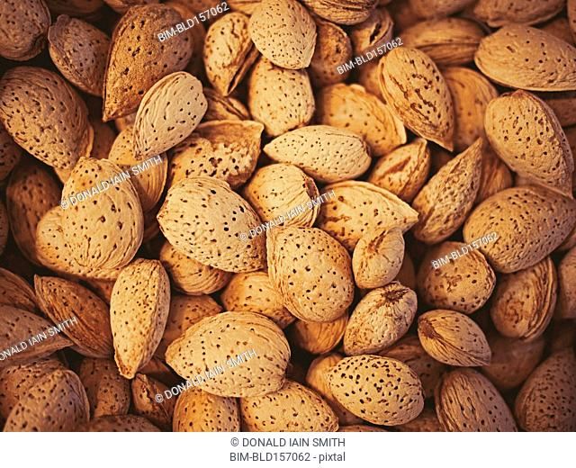 Close up of pile of almonds