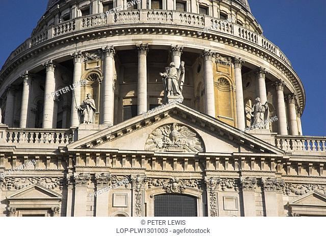 St. Paul's Cathedral in the City of London, designed in the 17th century by Sir Christopher Wren. The dome was inspired by St Peter's Basilica in Rome and is...