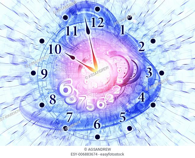 Composition of gears, clock elements, dials and dynamic swirly lines with metaphorical relationship to scheduling, temporal and time related processes