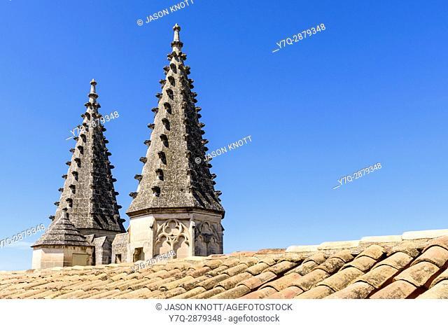 Architectural detail of the twin turrets of the Palais Neuf, Palais des Papes, Avignon, Vaucluse, Provence-Alpes-Cote d'Azur, France