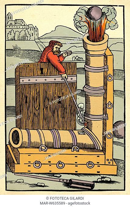 ARMI - Un curioso cannone a gomito utilizzato per i tiri in arcata. Stampa facsimile di una raffigurazione da edizione francese del 'De Re Militari' di Flavio...
