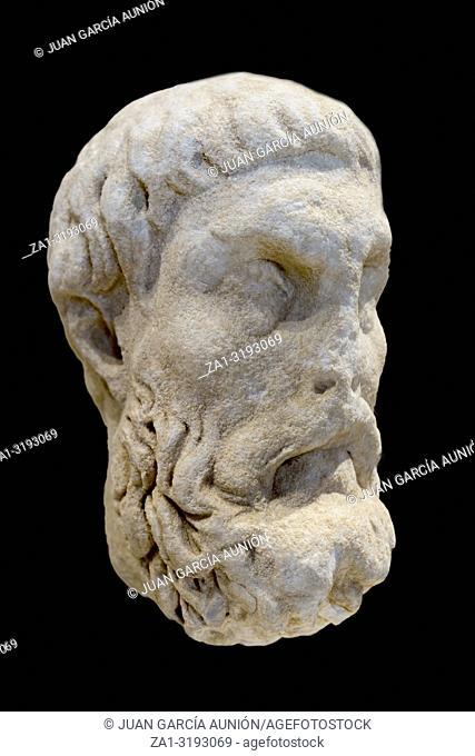 Head of Epicurus, ancient Greek philosopher, Malaga Museum, Spain