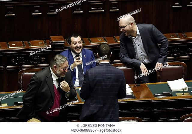 Nicola Molteni, Matteo Salvini, Lorenzo Fontana and Raffaele Volpi during the vote on the question of the trust placed by the Government on the Security and...