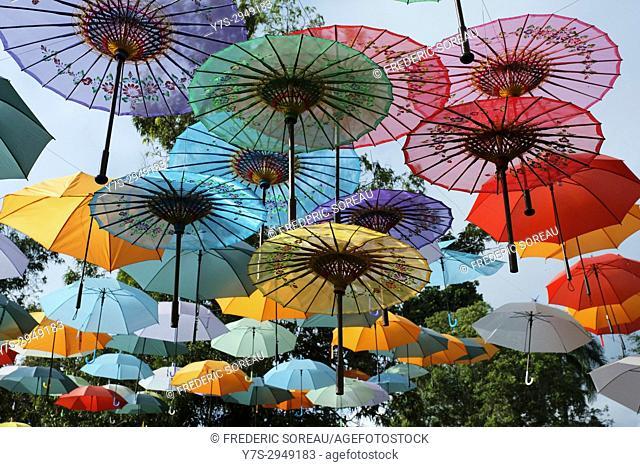 Colorful umbrellas in Borobudur temple, Indonesia, Southeast Asia
