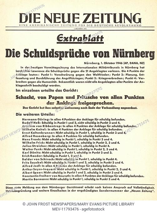 1946 Die Neue Zeitung front page Nazi leaders sentenced to death
