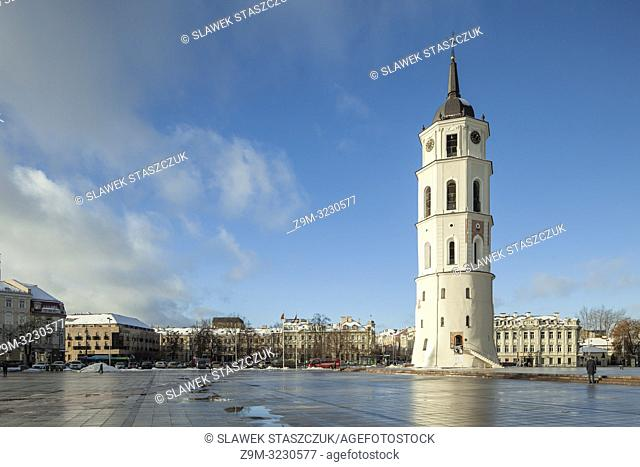 Winter day at the bell tower at Vilnius cathedral, Lithuania