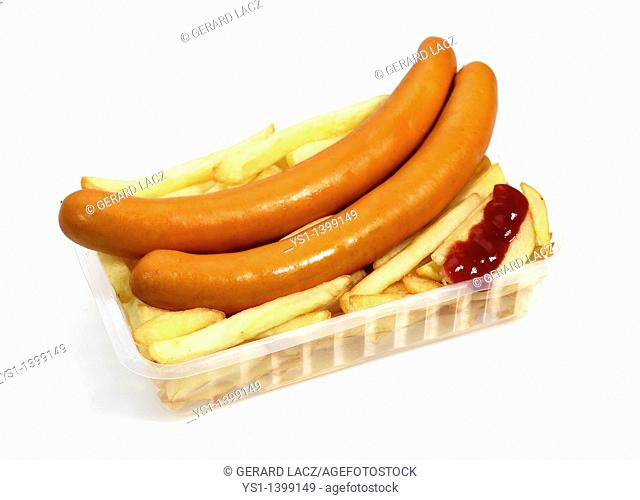 Strasburg Sausages With Ketchup and French Fries against White Background