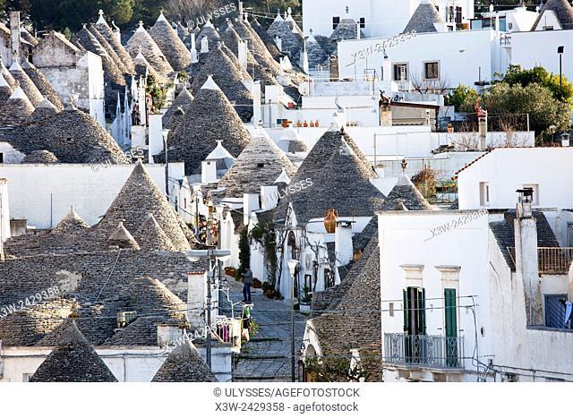 Trulli, Alberobello village, Rione Monti, province of Bari, Puglia, Italy, Europe