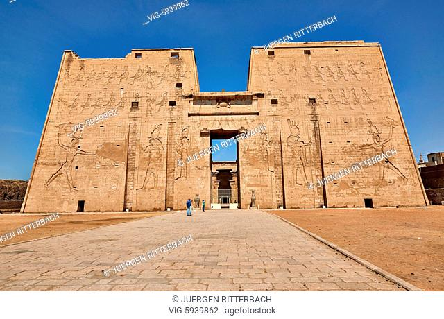 EGYPT, EDFU, 09.11.2016, pylon at entrance of Temple of Edfu, Egypt, Africa - Edfu, Egypt, 09/11/2016