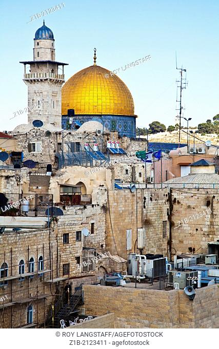 Dome of the Rock dominates the skyline near the Wailing Wall in Jerusalem