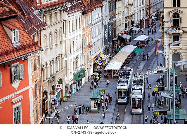 Town square and Herrengasse street, and the city hall of Graz, Austria