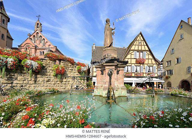 France, Haut Rhin, Alsace Wine Route, Eguisheim, labelled Les Plus Beaux Villages de France (The Most Beautiful Villages of France), Castle square