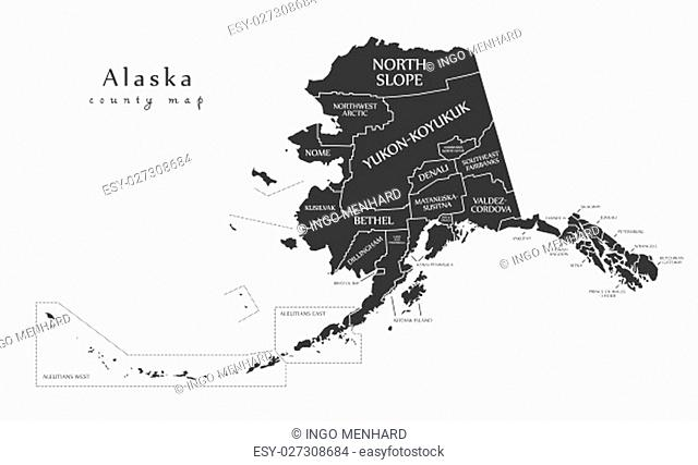 Modern Map - Alaska county map with labels USA silhouette illustration