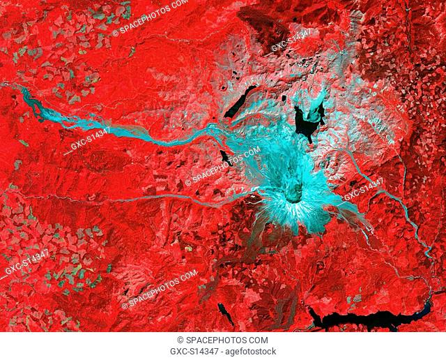 This image of Mt. St. Helens volcano in Washington was acquired on August 8, 2000 and covers an area of 37 by 51 km. Mount Saint Helens