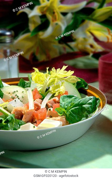 Spinach, green cheese, celery, and apple salad