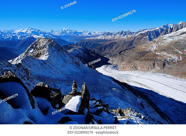 Aletsch Glacier and distant view of the Matterhorn