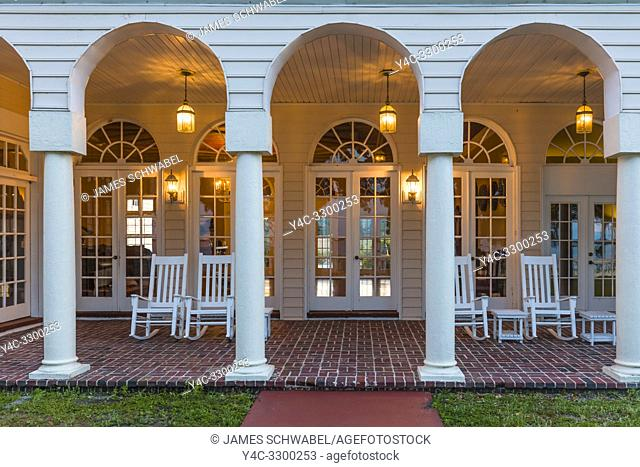 Porch at Capernaum Lakeside Lodge also Capernaum Inn Retreat Center built in 1925 in Lake Wales Polk County Floridda in the United States