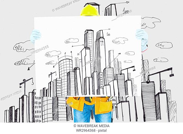 architect showing cityscape plan against cityscape drawing background