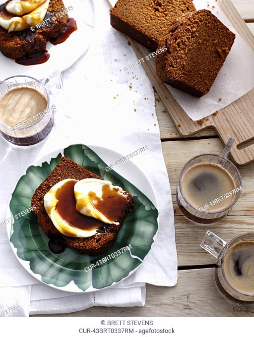 Plate of ginger cake with butter