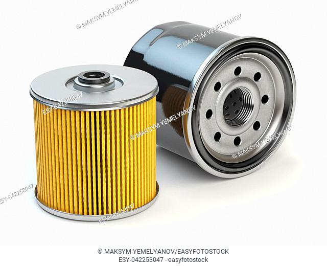 Car oil filter isolated on white background. Automobile spare part. 3d illustration