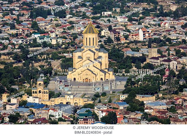 Church in dense cityscape, Tbilisi, Georgia