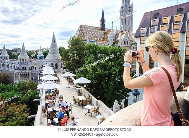 Young female tourist at Fisherman's bastion, Budapest, Hungary