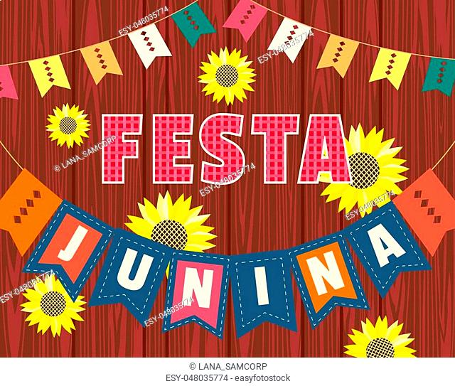 Festa Junina Latin American holiday. Festive party text flyer template. Traditional Brazil June folklore festival event colorful background