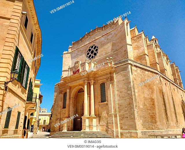 View of Cathedral in Ciutadella on Menorca, Balearic Islands, Spain