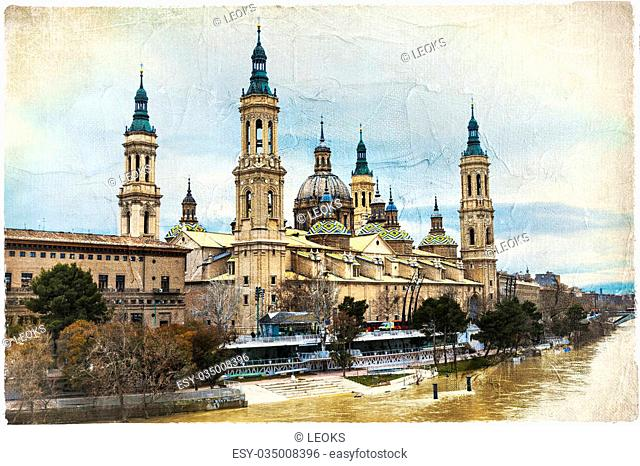 Beautiful landmarks Of Spain,Saragossa.Artistic Picture