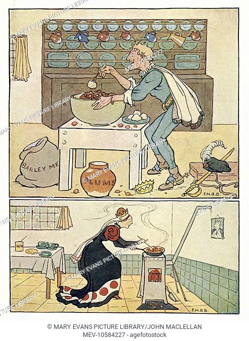 Nursery Rhymes -- two illustrations. Above -- the Knave of Hearts takes a tart. Below -- the Queen of Hearts making her tarts