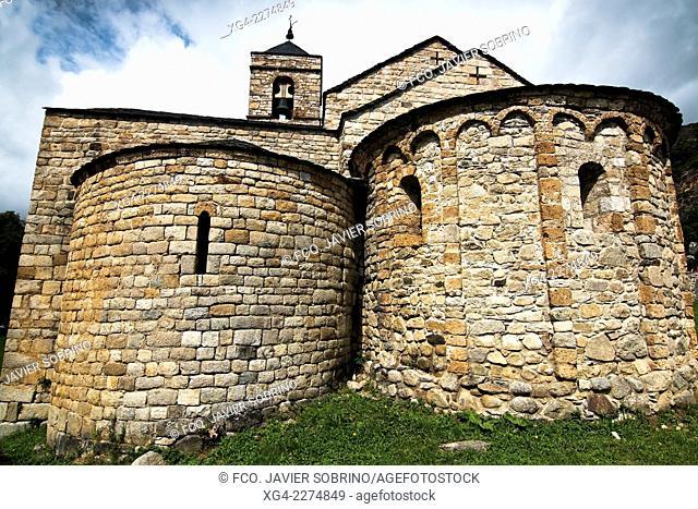Spain, Catalonia, Lleida Province, Pyrenees, Vall de Boi, Barruera, Sant Feliu, Apses of Romanesque church