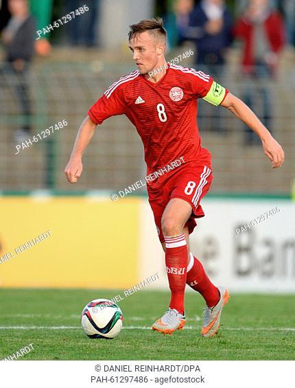 Denmark's Lasse Vigen Christensen in action during the U21 international friendly Germany vs Denmark in Luebeck, Germany, 3 September 2015