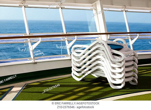 sun loungers on P&O cruise liner Ventura