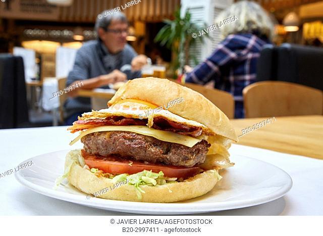 Burger, Restaurante Bar Virginia Mendibil Menus & Fast Good, Mall, Centro Comercial Mendibil, Irun, Gipuzkoa, Basque Country, Spain