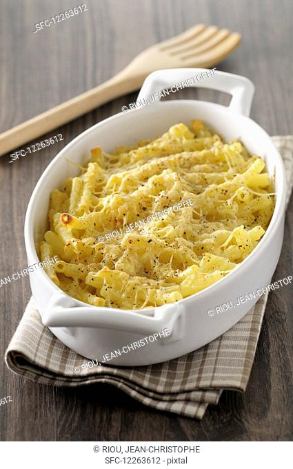 Noodle gratin with cheese