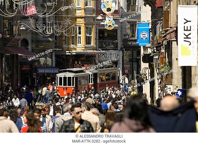 Istiklal Caddesi, tramway, Taksim, Istanbul, Turkey