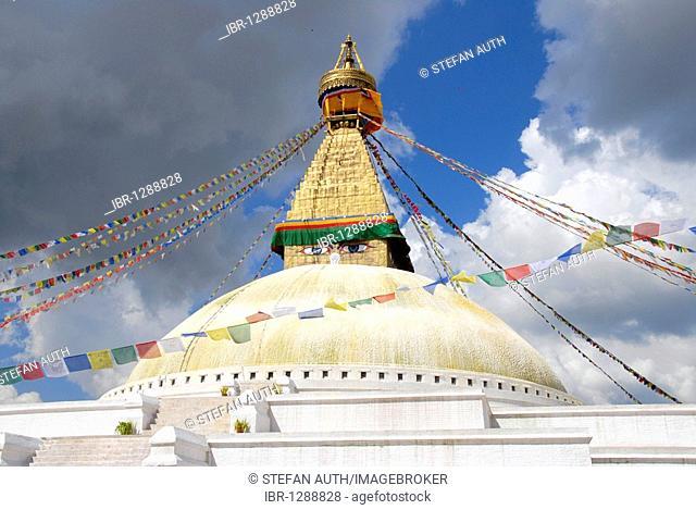 UNESCO World Heritage Site, Tibetan Buddhism, architecture, Bodhnath Stupa, Boudhanath, Boudha, two eyes looking down, colorful prayer flags, Kathmandu, Nepal