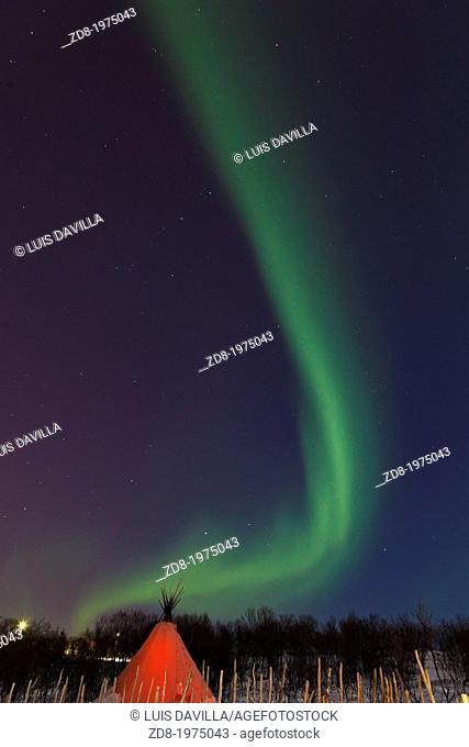 the northern lights aurora in kirkenes. norway