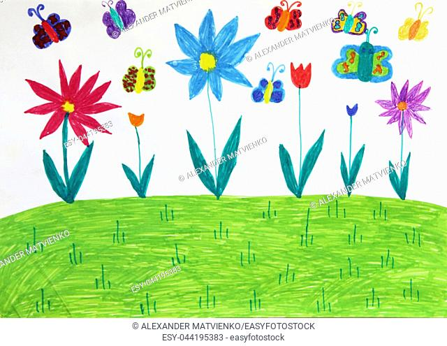Colored children's drawing with butterflies and flowers on meadow. Kid's drawing with colorful flowers. Summer by eyes of children. Childish drawing
