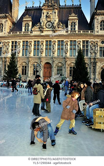 Paris, France, Ice Skaters on Ice Skating Rink at Paris City Hall Building, H-tel de Ville