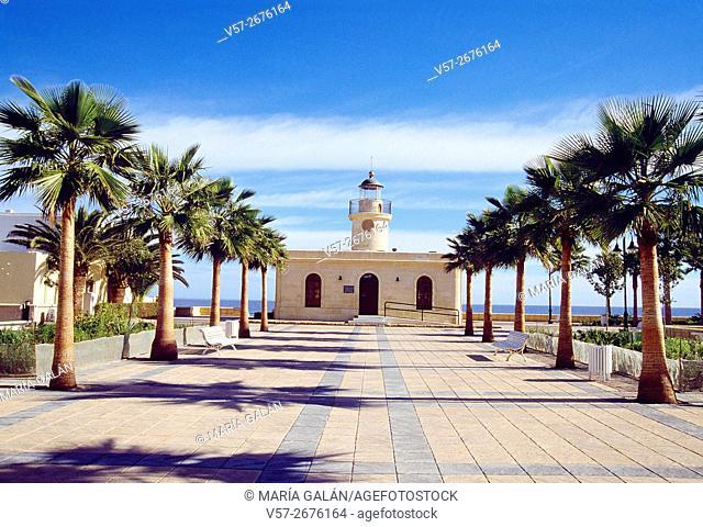 Promenade and lighthouse. Roquetas de Mar, Almeria province, Andalucia, Spain