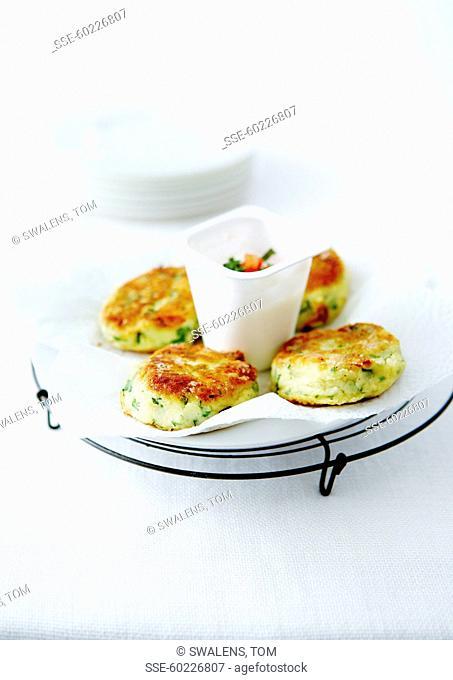 Mashed potato and parsley patties