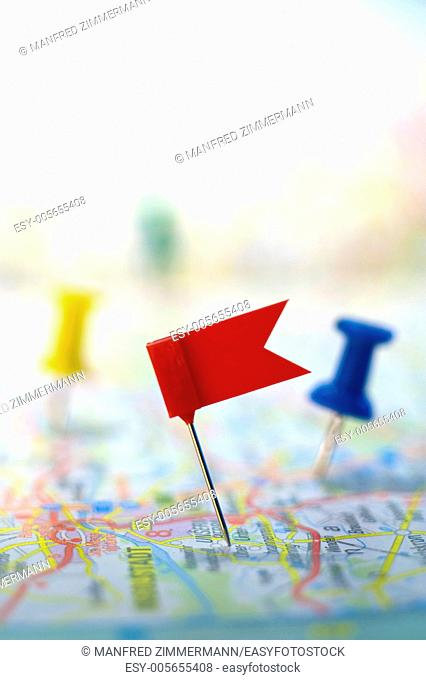 red flag on map indicates a target