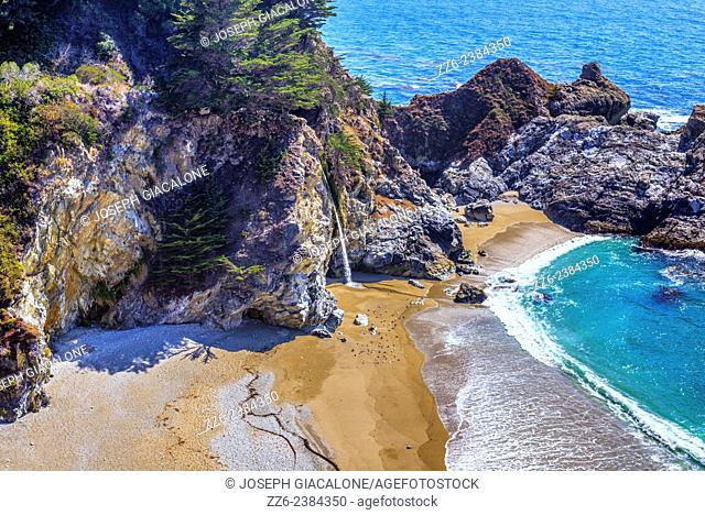 View of McWay Falls and beach. Julia Pfeiffer Burns State Park, California, United States