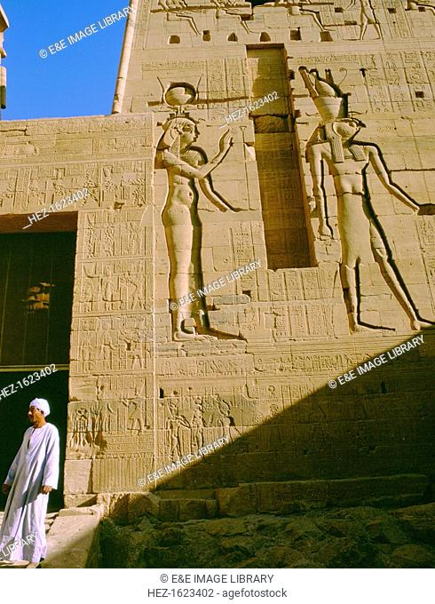 Horus and Isis carving, Temple of Philae, Aswan, Egypt. Carvings on the front of the temple of Isis, which was built in the Ptolemaic period 332-330 BC