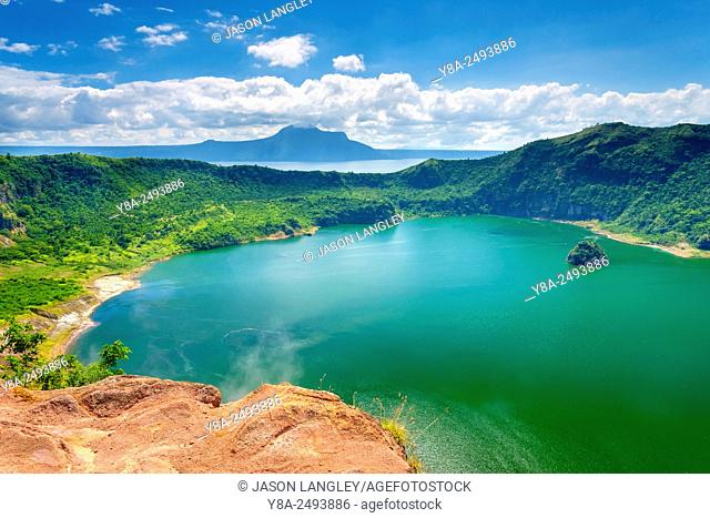 Steam rising from vents on the ridge of Taal Volcano overlooking crater lake on Taal Volcano Island, Talisay, Batangas Province, Philippines