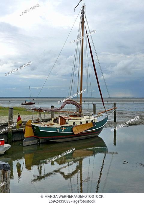 Small harbor on island Neuwerk, Elbe estuary, North Sea, Hamburg, Germany